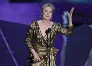 "Actress Meryl Streep accepts the Oscar for Best Actress for her role in ""The Iron Lady"" at the 84th Academy Awards in Hollywood"