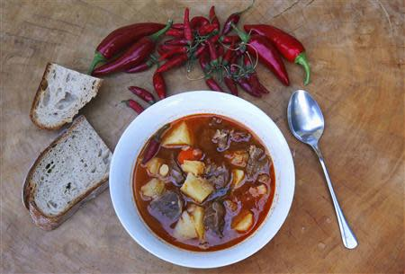 A bowl of Hungary's famous goulash soup, spiced up with Paprika from Batya, in Budapest