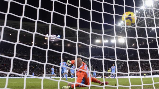 Juventus' Pogba shoots to score past Napoli's goalkeeper Reina during Italian Serie A match in Turin