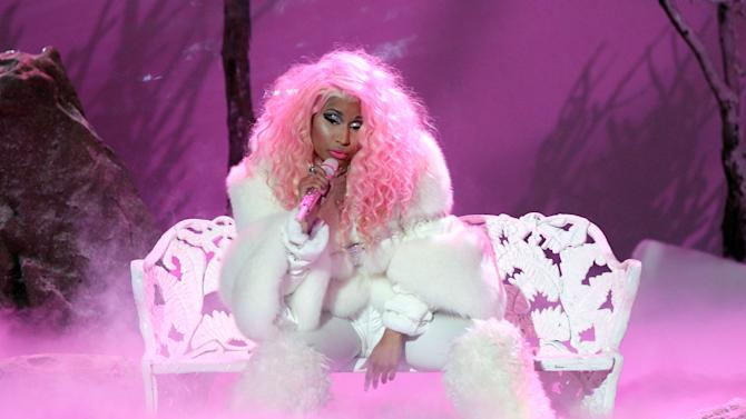 "Nicki Minaj performs ""Freedom"" at the 40th Anniversary American Music Awards on Sunday, Nov. 18, 2012, in Los Angeles. (Photo by Matt Sayles/Invision/AP)"