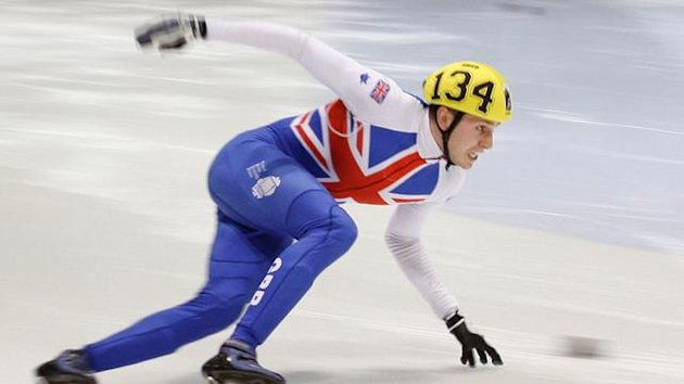 Jon Eley from Britain skates during the 500m men's final at the short track speed skating world cup in Quebec City