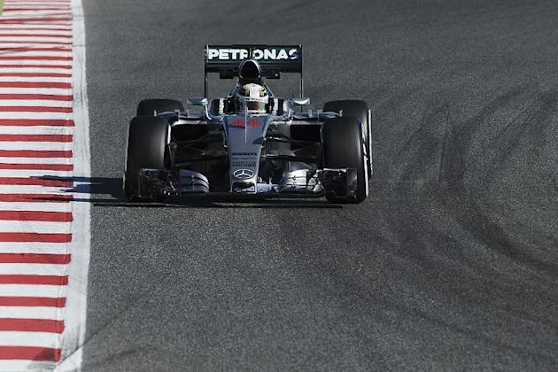 Mercedes AMG Petronas F1 Team's British driver Lewis Hamilton drives his car during the third and last segment of Formula One pre-season tests at the Circuit de Catalunya, in Montmelo on the outsk