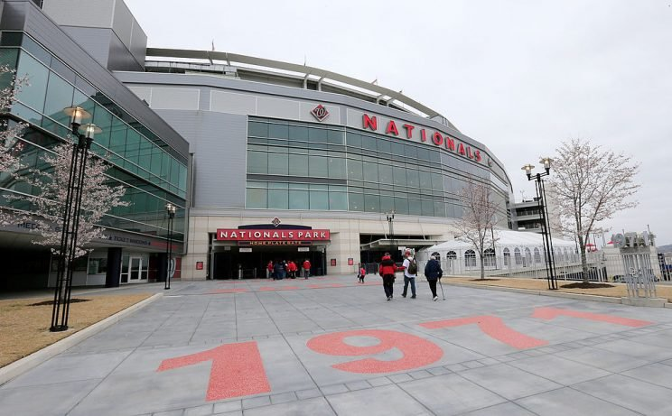 WASHINGTON, DC - APRIL 04: A general view of the exterior of Nationals Park before the start of the Washington Nationals and Atlanta Braves homer opener on April 4, 2014 in Washington, DC. (Photo by Rob Carr/Getty Images)