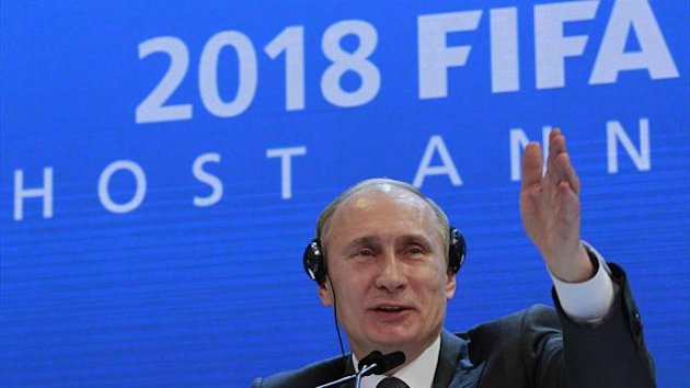 Russia's Prime Minister Vladimir Putin speaks to the media during a news conference after the announcement that Russia will host the FIFA World Cup 2018 in Zurich (Reuters)