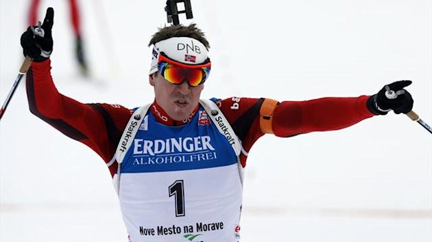 Emil Hegle Svendsen of Norway celebrates as he won the men's 12.5 km pursuit during the International Biathlon Union (IBU) World Championships in Nove Mesto