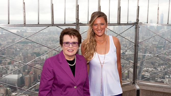 WTA Founder Billie Jean King And Victoria Azarenka of Belarus Light The Empire State Building