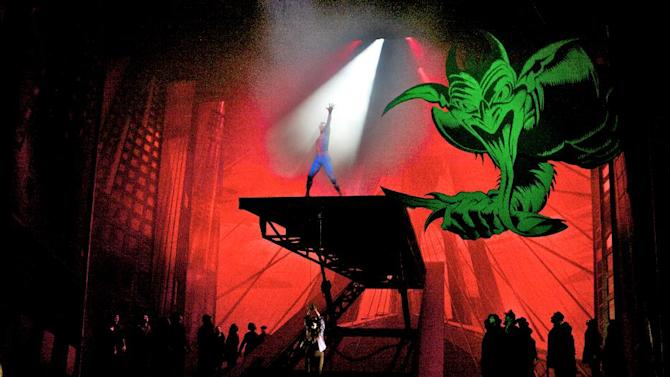 "In this theater publicity image released by The O&M Co., a scene is shown from ""Spider-Man: Turn Off The Dark,"" in New York. The first-ever autism-friendly performance of the Broadway hit ""Spider-Man: Turn Off the Dark"" will swing this spring and tickets go on sale Thursday. The Theatre Development Fund, a nonprofit organization that provides access to live theater, bought all the tickets for the matinee on April 27 at the Foxwoods Theatre and will offer them at a discount to children and adults on the autism spectrum.  (AP Photo/The O&M Co., Jacob Cohl)"