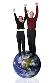 These people are happy because they're both from earth and can balance on it like a gender neutral Little Prince. (Thinkstock Images)