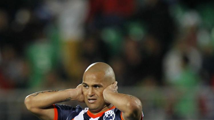 Suazo of Mexico's Monterrey reacts after losing their FIFA Club World Cup soccer match to Morocco's Raja Casablanca at Stade Adrar stadium in Agadir