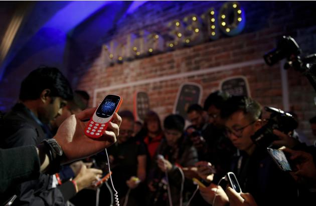 A Nokia 3310 device is displayed after its presentation ceremony at Mobile World Congress in Barcelona