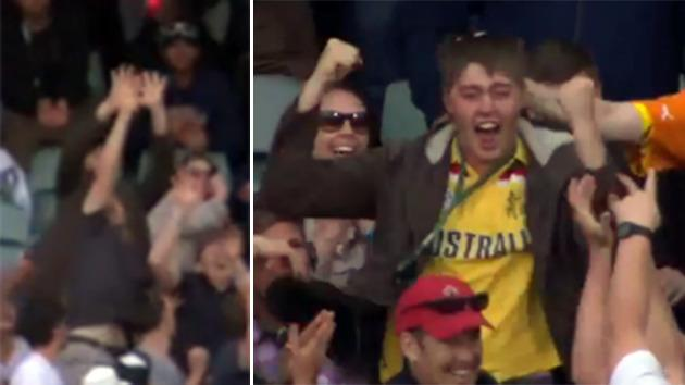 Cricket fan takes spectacular crowd catch