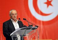 Head of the Tunisian General Labour Union (UGTT) Houcine Abbassi speaks on May 16, 2013 in Tunis. The head of Tunisia's ruling Islamist party Ennahda is to meet the powerful UGTT trade union chief on Monday on the crisis sparked by the killing of an opposition politician