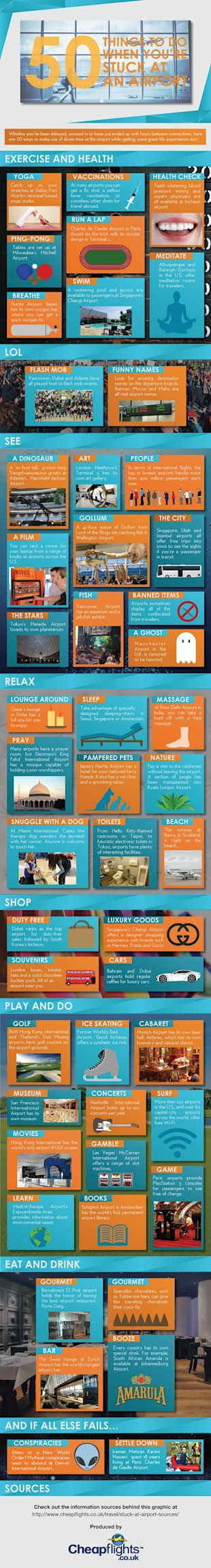 50 Things To Do When Youre Stuck At An Airport [Infographic] image 50 things to do at the airport 1