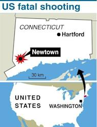 Map locating the shooting rampage in the Connecticut community of Newtown on December 14, 2012. US President Barack Obama flew Sunday to Connecticut to join those mourning the 20 young children and seven adults killed in America's latest mass shooting tragedy