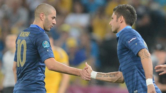 World Cup - Benzema, Giroud likely to start for France