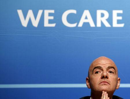 File photo of UEFA General Secretary Infantino attending a news conference after an Executive Committee meeting at the UEFA headquarters in Nyon