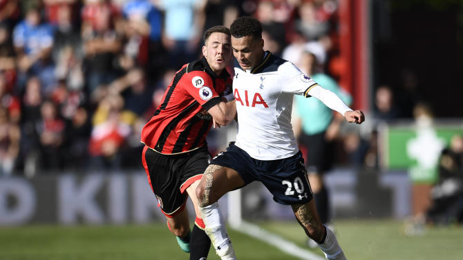Bournemouth's Dan Gosling in action with Tottenham's Dele Alli