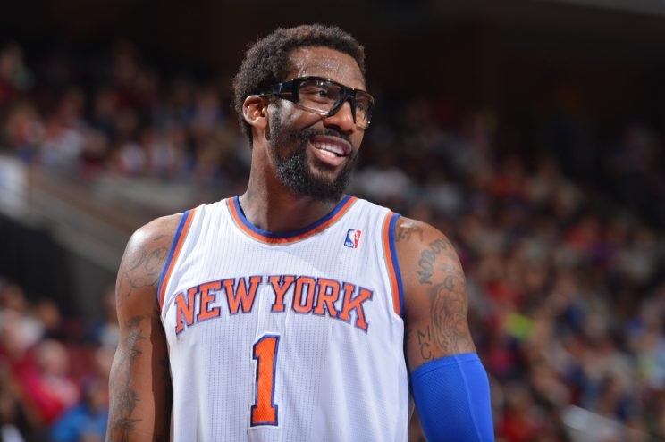 ïPHILADELPHIA, PA - JANUARY 11: Amar'e Stoudemire #1 of the New York Knicks smiling during a game against the Philadelphia 76ers at the Wells Fargo Center on January 11, 2014 in Philadelphia, Pennsylvania. NOTE TO USER: User expressly acknowledges and agrees that, by downloading and or using this photograph, User is consenting to the terms and conditions of the Getty Images License Agreement. Mandatory Copyright Notice: Copyright 2013 NBAE (Photo by Jesse D. Garrabrant/NBAE via Getty Images)