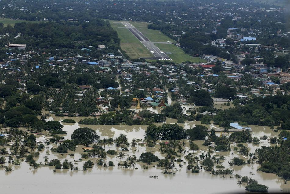 The runway of Kalay Airport is seen among flooded houses in Kalay township at Sagaing division