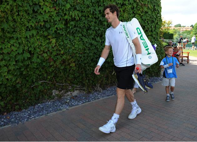 TEN: Great Britain's Andy Murray leaves his practice session