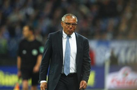 Felix Magath reacts during the German first division Bundesliga soccer match against Schalke 04 in Gelsenkirchen October 6, 2012. REUTERS/Ina Fassbender/Files