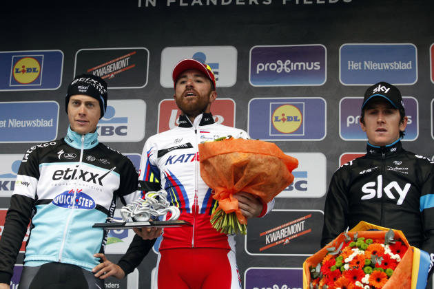 From left, Niki Terpstra of team Etixx-Quick Step, Luca Paolini of team Katusha and Geraint Thomas of  team Sky on podium after the Belgian cycling classic 'Ghent-Wevelgem', part of the UCI Wo