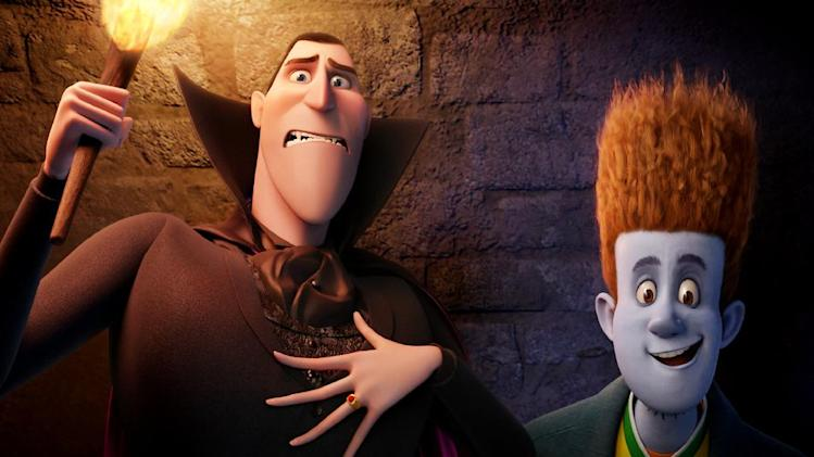 "This film image released by Sony pictures shows Dracula, voiced by Adam Sandler, left, and Johnnystein, voiced by Andy Samberg in a scene from ""Hotel Transylvania."" The film, directed by Genndy Tartakovsky, will be released on Sept. 21. (AP Photo/Sony Pictures)"