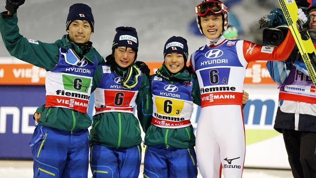 Ski Jumping - Takanashi helps Japan win mixed team gold