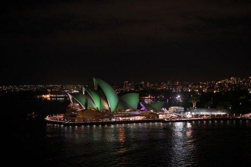 "The Sydney Opera House shortly after the start of the annual ""Earth Hour"" on March 23, 2013"