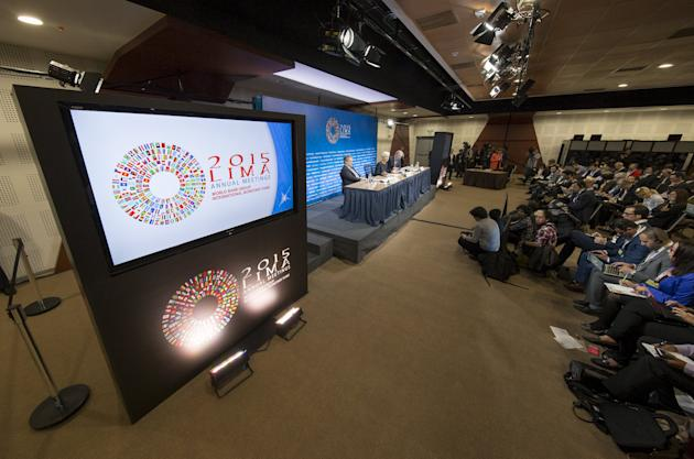 Lagarde, Lipton and Rice hold a news conference during the 2015 IMF/World Bank Annual Meetings in Lima