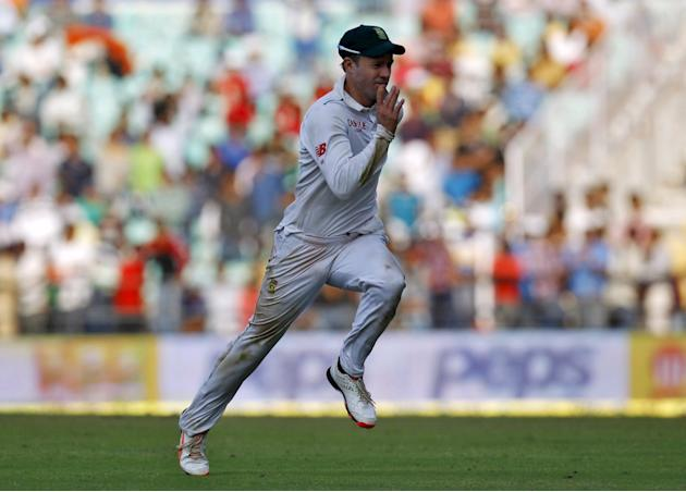 South Africa's  AB de Villiers chases the ball during the first day of their third test cricket match against India in Nagpur