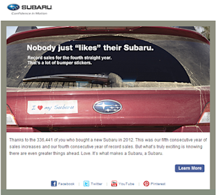 Email Marketing: A Chance for Love Letters to Your Customers image subaru thank you email