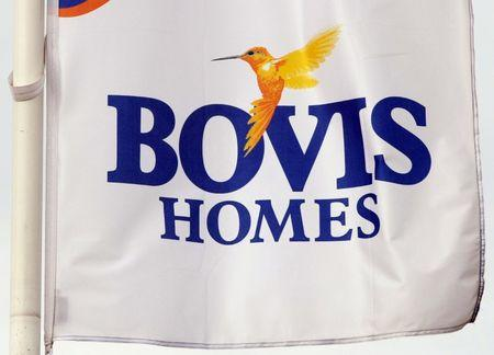 A Bovis homes flag flies at a housing development near Bolton