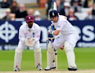 England cricketer Ian Bell bats during the fifth day of the first Test against the West Indies at Lords cricket ground in London. England won the first Test against West Indies at Lord's by five wickets on the fifth day here on Monday to take a 1-0 lead in the three-match series