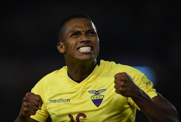 Ecuador's Antonio Valencia celebrates after his team scores in a 2018 World Cup qualifier against Argentina in Buenos Aires, on October 8, 2015