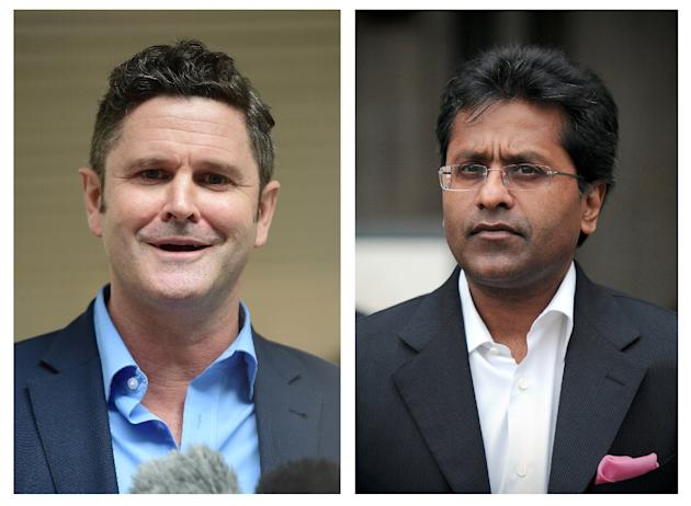 Charges were brought against Chris Cairns (L) after he sued Indian Premier League chairman Lalit Modi (R) for libel in 2012 over a 2010 tweet in which the administrator accused him of match-fixing