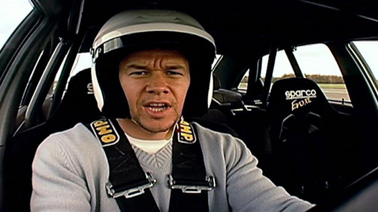 "Mark Wahlberg on the ""Top Gear"" driving track."