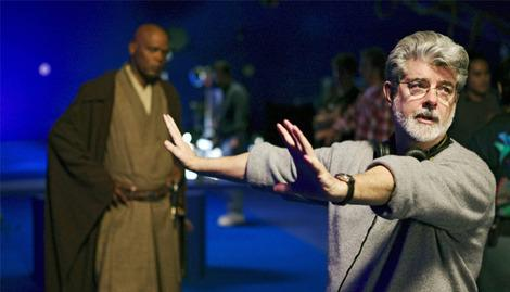 George Lucas on the set of 'Star Wars: Episode III'