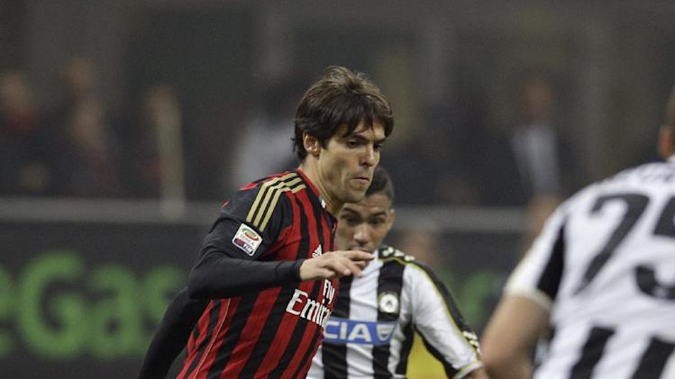 AC Milan Brazilian forward Ricardo Kaka' controls the ball during a Serie A soccer match between AC Milan and Udinese, at the San Siro stadium in Milan, Italy, Saturday, Oct. 19, 2013