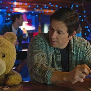 """In this image released by Universal Pictures, the character Ted, voiced by Seth MacFarlane, left, and Mark Wahlberg appear in a scene from the film, """"Ted 2."""" (Universal Pictures via AP)"""