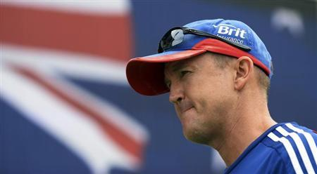 England's coach Andy Flower is interviewed on the ground after Australia won the third Ashes test cricket series at the WACA ground in Perth