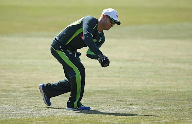 CRIC: Australia's Michael Clarke warms up before the match