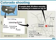 Map of the US state of Colorado locating Aurora, where suspected gunman James Holmes shot dead 12 people and left 58 others wounded at a cinema on Friday