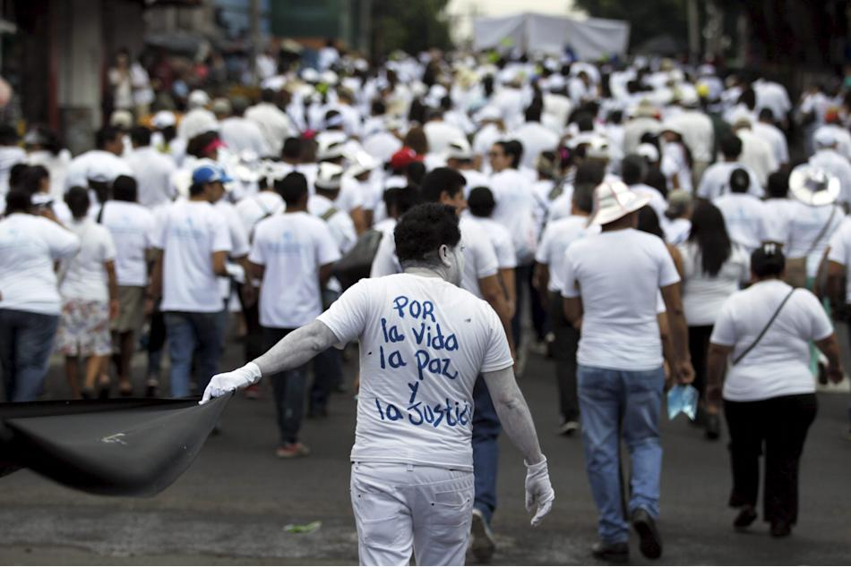 Students participate in the March for Peace, Life and Justice in downtown San Salvador