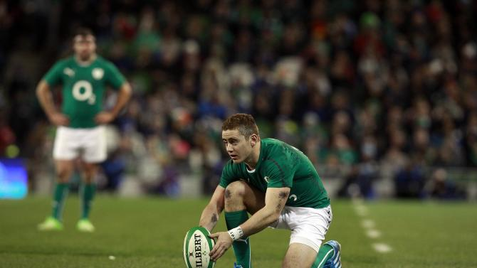 Ireland's Paddy Jackson prepares to kick a conversion against Samoa in their International rugby union match at Aviva stadium in Dublin