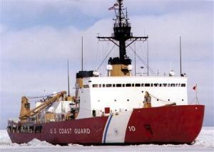Polar Bear, the U.S. Coast Guard icebreaker, works the ice channel near McMurdo, Antarctica