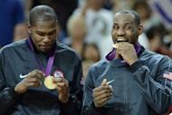 US gold medalists LeBron James and US forward Kevin Durant (L) pose on the podium after the London 2012 Olympic Games men's gold medal basketball game between USA and Spain at the North Greenwich Arena in London. The United States Dream Team of NBA stars captured their second successive Olympic men's basketball gold medal and the 14th overall for America by beating Spain 107-100