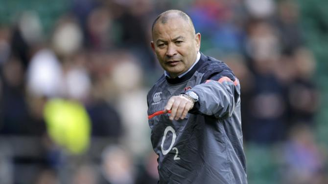 England head coach Eddie Jones gestures during the warm up