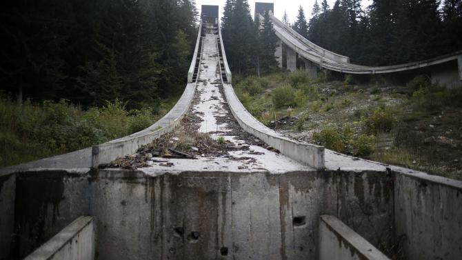 A view of the disused ski jump from the Sarajevo 1984 Winter Olympics on Mount Igman, near Sarajevo