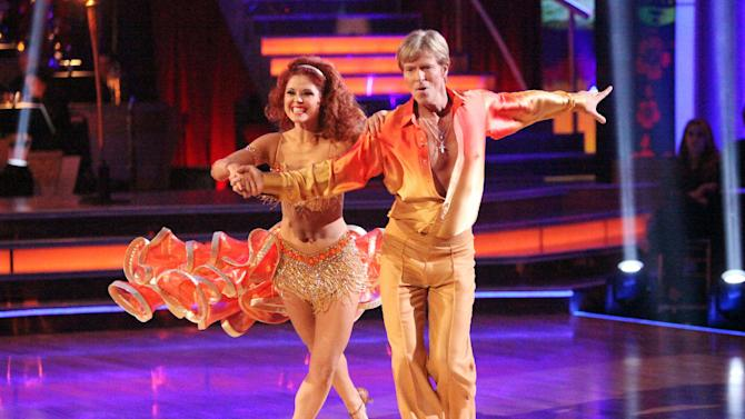 "In this April 2, 2012 image released by ABC,  actor Jack Wagner and his partner Anna Trebunskaya perform on the celebrity dance competition series ""Dancing with the Stars,"" in Los Angeles. (AP Photo/ABC, Adam Taylor)"